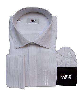 Hell Gala Hemd Mit Lurex Streifen + Einstecktuch Gr.m Weiß 39/40