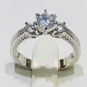 063a6f056e Platinum Sterling Silver White Sapphire Round Cut 3 Stone Engagement ...