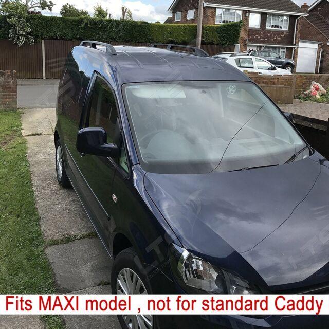 VW Caddy Maxi Camionnette Alu Barres de Toit Rail Set Noir 2010 (Long)