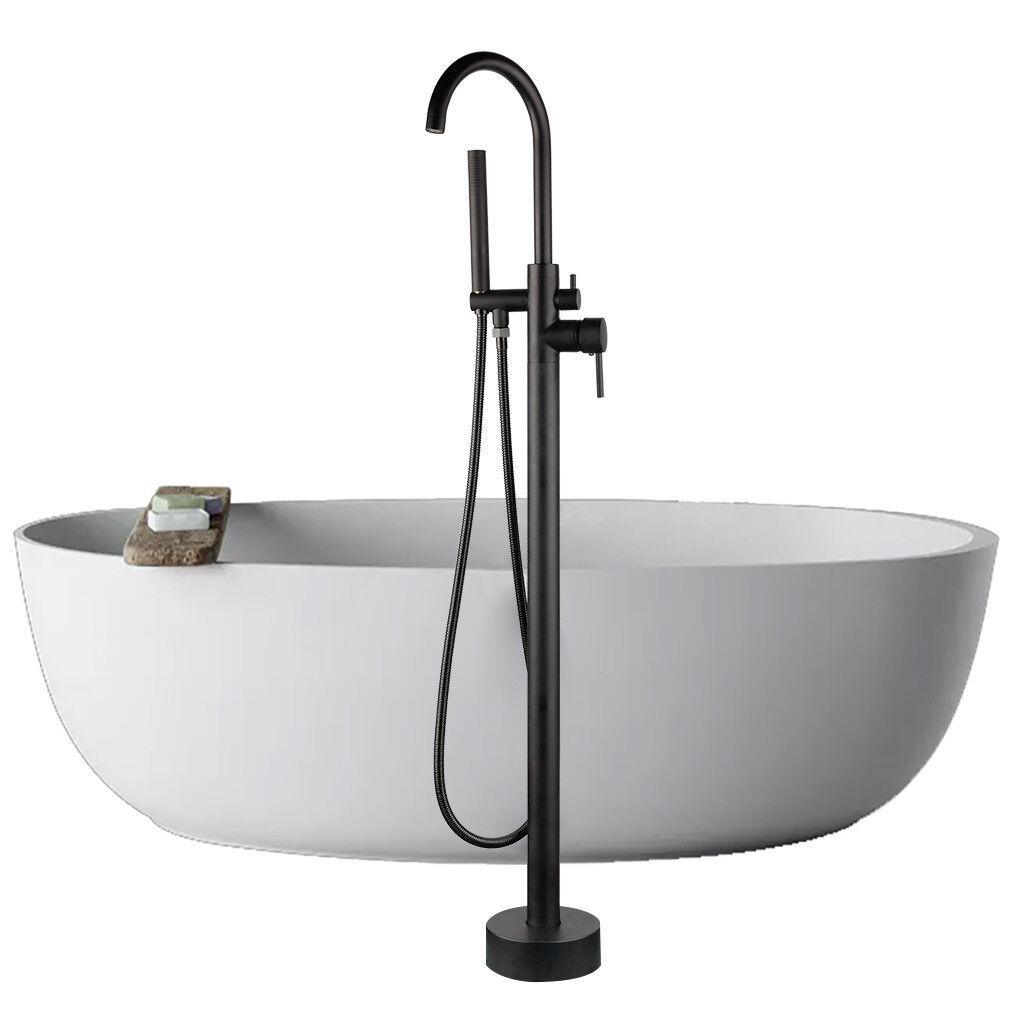 MATT NOIR TAILLE HAUTE ronde Bec Verseur Bain Mitigeur Plancher monté douche baignoire robinet