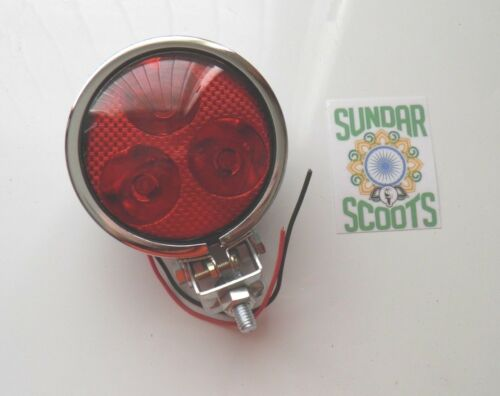 "1  12v  3.5/"" SPOT LIGHT 3 LED BULBS.RED LENS CHROMED CASING.LAMBRETTA//VESPA"