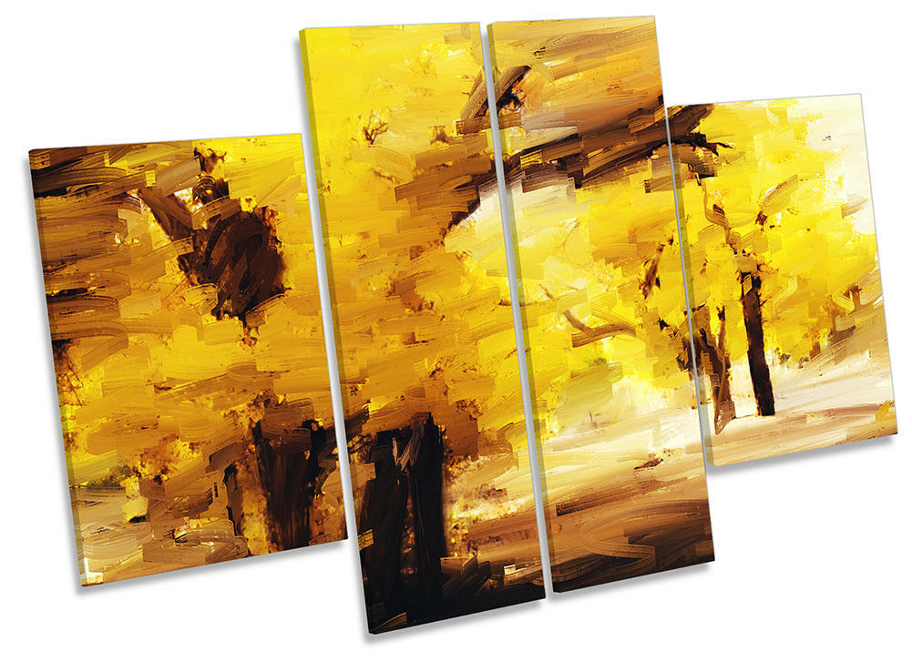 Gelb Forest Landscape CANVAS WALL ARTWORK Four Panel Art