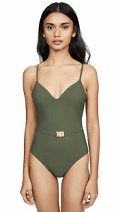 Size Medium Tory Burch T-Belt One Piece Swimsuit in Green Olive