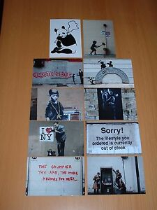 SET OF TEN BANKSY POSTCARD SIZE PHOTO  PRINTS399 - cleckheaton, West Yorkshire, United Kingdom - Returns accepted Most purchases from business sellers are protected by the Consumer Contract Regulations 2013 which give you the right to cancel the purchase within 14 days after the day you receive the item.  - cleckheaton, West Yorkshire, United Kingdom