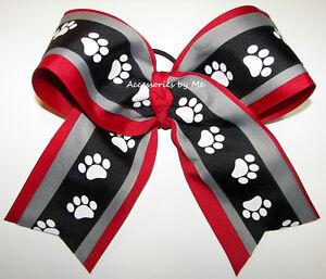 Paw Print Cheer Bow Orange Black Tigers Bulldogs Bob Cats Cheerleader Softball