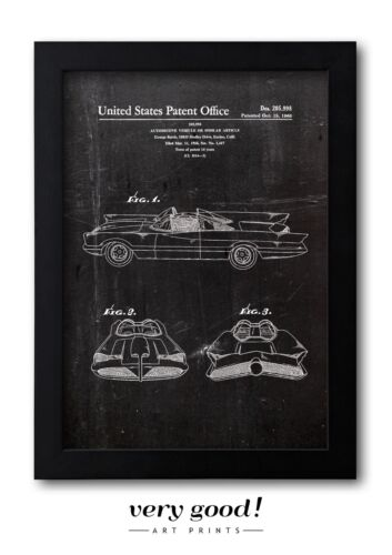 Batman Batmobil 1966 Patent Fine Art Print Galeriequalität A4 Art 01