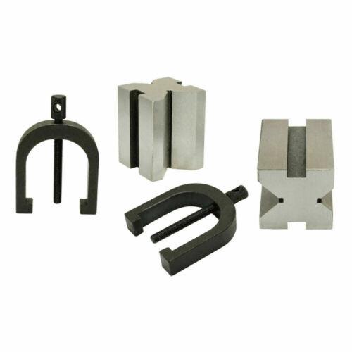 "1-5//8/"" x 1-1//4/"" x 1-1//4/"" Precision V Blocks /& Clamp Set Steel Gauge Machinist"