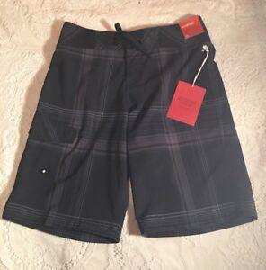 502f077245 Mossimo Mens Swim Trunks Board Shorts Size 28 Black Plaid Below Knee ...