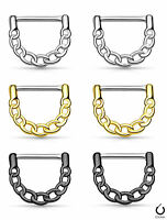 Pair Linked Chain Design Nipple Clickers Shields Rings Body Jewelry
