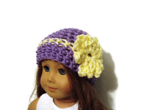 Crochet-Hat-Fits-American-Girl-Dolls-18-034-Doll-Clothes-Purple-w-Yellow-Flower