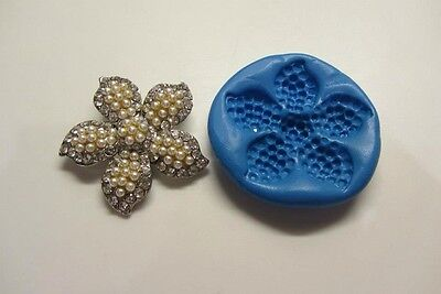 FLOWER BROOCH SILICONE MOULD for Sugarcraft Fimo Cernit Cupcake Topper Cakes