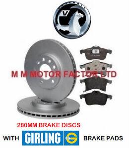 Vauxhall Zafira 1.8 MPV 123bhp Front Brake Pads /& Discs 280mm Vented