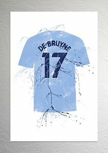 Kevin De Bruyne A4 Size Splash Effect Man City Football Shirt Art