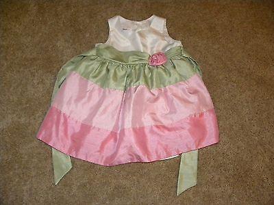 Bonnie Baby Toddler Girls Pink Green White Shiny Stripe Rose Dress 24 months