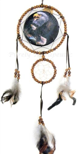 EAGLE BEADED DREAM CATCHER Natural FeathersWall Hanging Ornament Indian 60cm