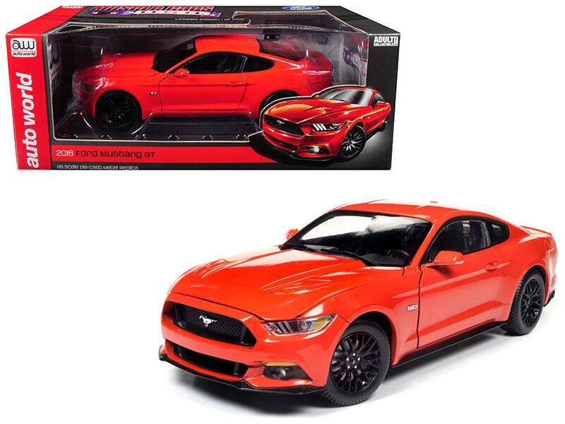 Auto World 1 18 Ford Mustang 2016 GT 5.0 Coupé Diecast voiture modèle Orange AW242