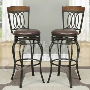 Stupendous Details About Set Of 2 Swivel Barstool 29H Bar Stools Chairs Curved Chair Back Wood Metal Leg Spiritservingveterans Wood Chair Design Ideas Spiritservingveteransorg