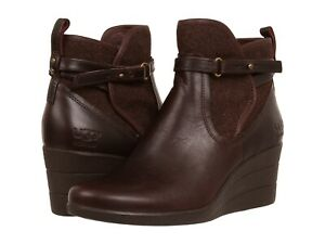 99722195d10 Details about UGG Emalie Wedge Boots Women's Leather Ankle Waterproof NIB  Sz 11