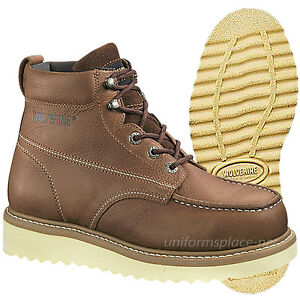ccf473b471f Details about Wolverine Work Boots Men Moc-Toe Wedge-Heel 6