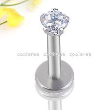 1x Stainless Steel 16G Clear Round CZ Gem Labret Monroe Lip Ring Stud Piercing
