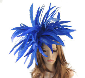7a3f33f7489da Image is loading Royal-Blue-Feather-Fascinator-Hat-for-weddings-ascot-