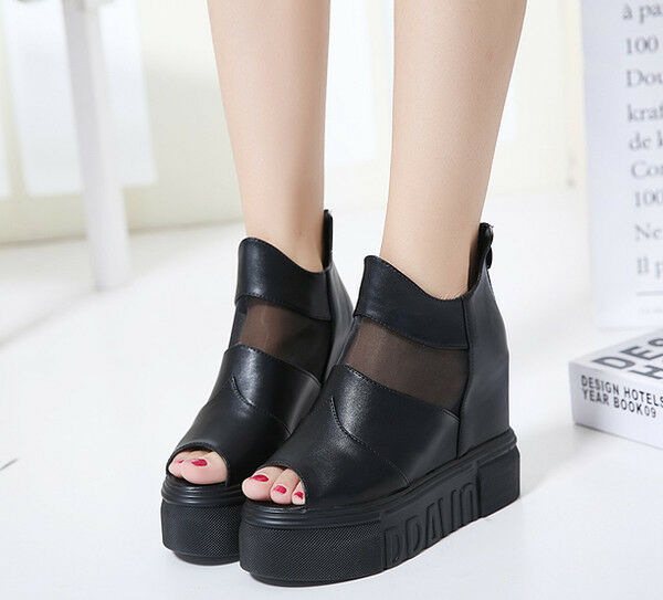 Sandales Damens's Stiefel wedge platform schwarz heel 11 cm zip CW750 like Leder CW750 zip 9249d4