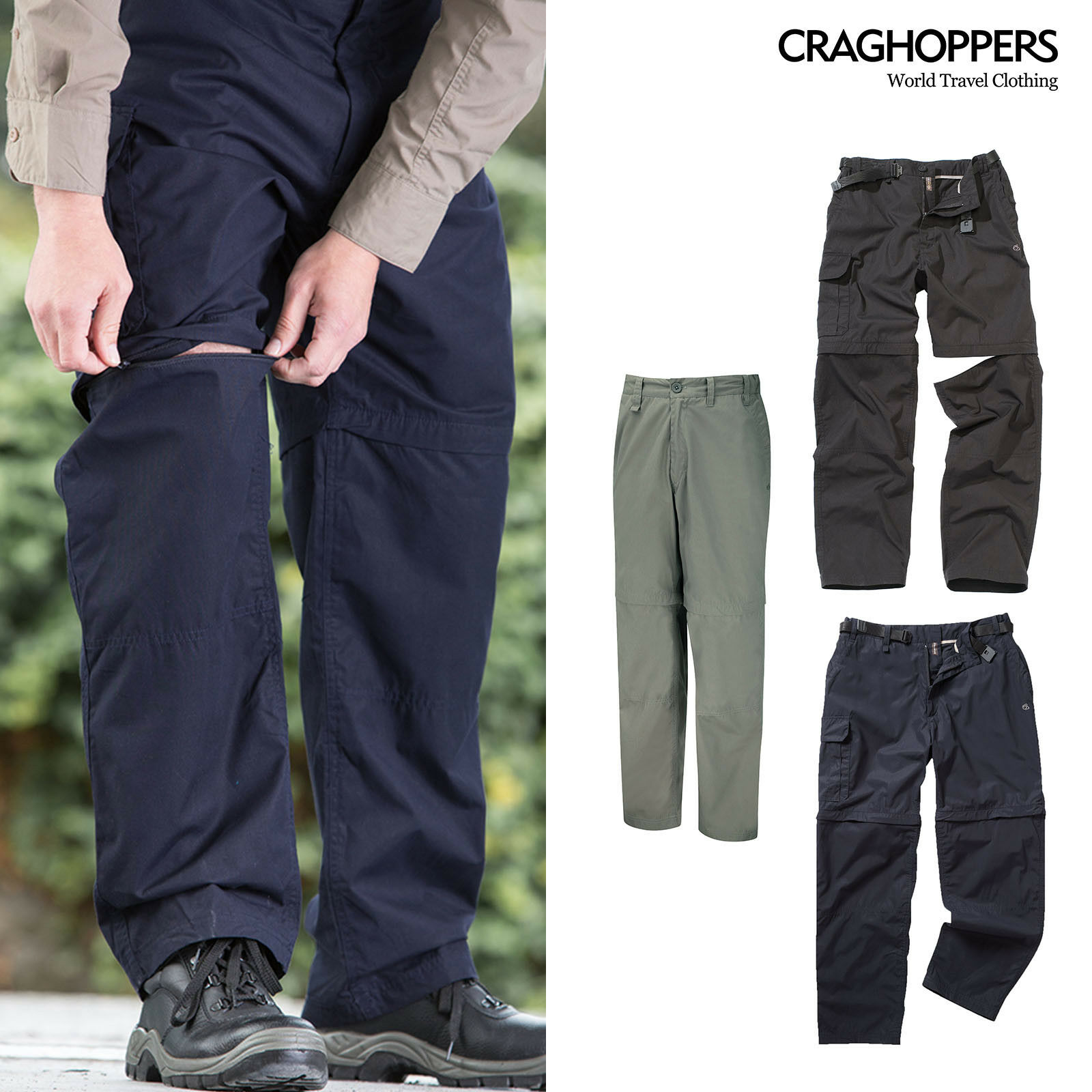 Craghoppers Kiwi ConGrünible Trousers (CMJ107) - Water-repellent Trousers Shorts