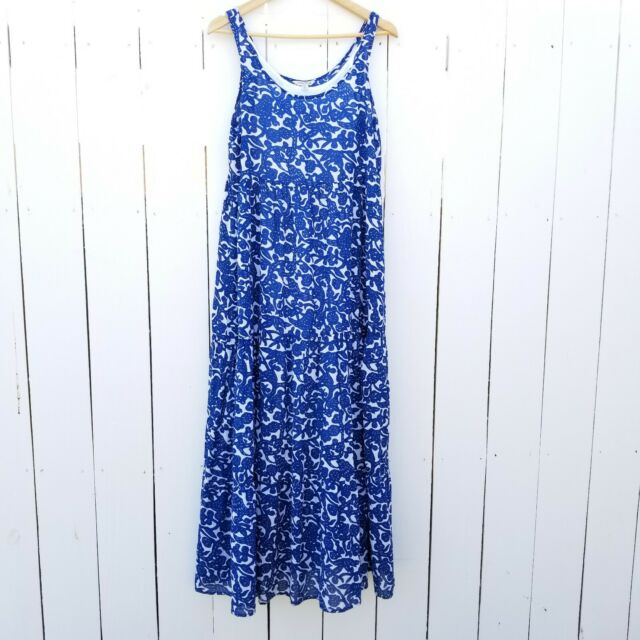 Lucky Brand Floral Print Maxi Dress M Blue White Size Medium