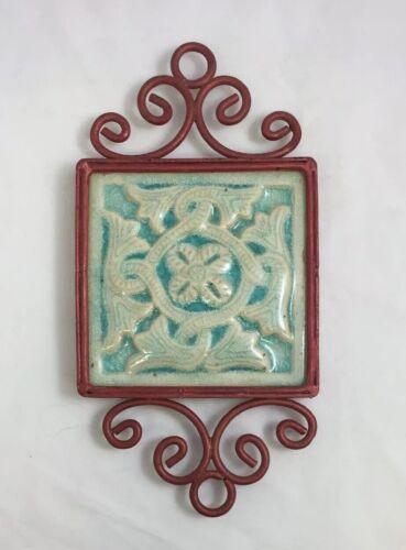 "Vintage Terracotta Turquoise BAS Relief Tile Trivet Majolica Italian 4/"" x 4/"""