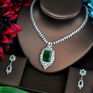 CUBIC-ZIRCONIA-WHITE-GOLD-PLATED-NECKLACE-amp-EARRINGS-WEDDING-BRIDE-JEWELERY-SET