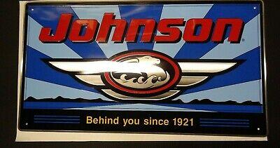 Vintage Johnson Outboard Motors Tin Sign JOHNSON LOGO Advertisement Rare