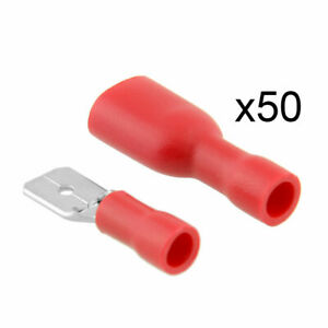 100x-Cosse-Electrique-isolee-Sertir-Connecteur-Terminal-connecteur-rouge