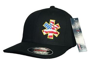 EMT Star of Life Flexfit Fitted Hat Paramedic Cross EMS Patriotic ... 77a7d4aad59