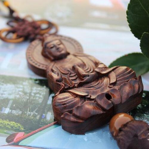 Chinese Kwan Yin Buddha Jujube Wood Carving Red Statue Sculpture Car Pendant