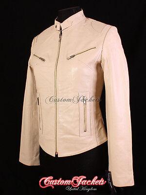 RUSH Ladies Leather Jacket Ornage Slim Fit Real Lamb Leather Biker Girl Jacket