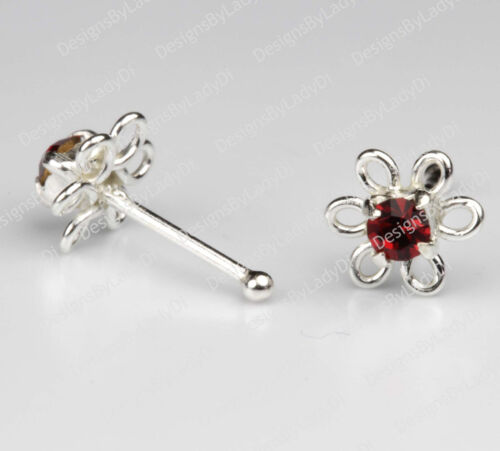 Dainty Flower With Red Gem Body Jewelry Sterling Silver Nose Stud One 1