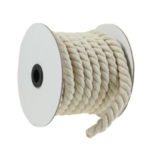 Größenwahl 12-20 mm 10m Baumwollschnur Kordel gedreht Baumwollkordel natur