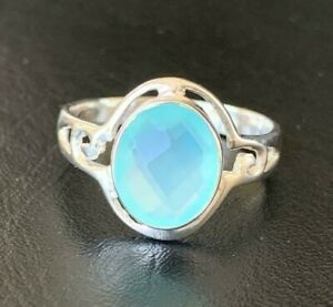 Sterling Silver Aqua Chalcedony Ring Large Gemstone Solitaire Stack Sz 6 7 8 9
