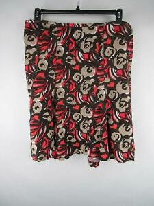 Lane-Bryant-Plus-Women-039-s-sz-22-24-Brown-Linen-Printed-Pull-On-A-Line-Skirt