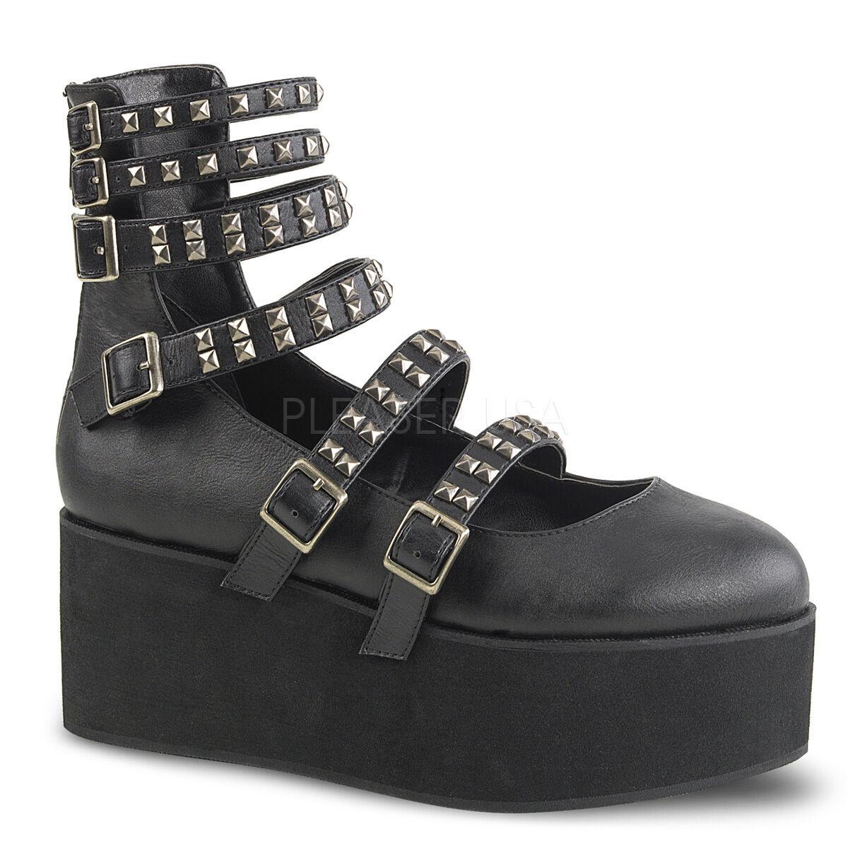 DEMONIA GRIP31 GRIP31 GRIP31 BVL Goth Punk Platform Black Strappy Mary Jane Women shoes 333f79