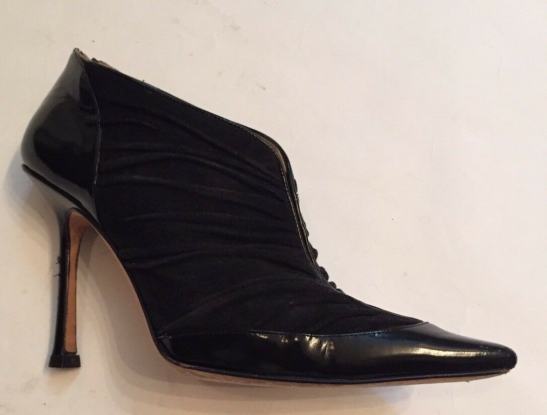 JIMMY CHOO Bootie POINTY TOE BLACK PATENT LEATHER SUEDE STILETTO GOLD ZIP 36.5 6
