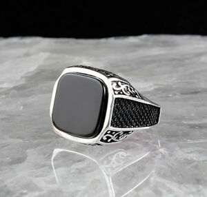 85aea02ae1d Handmade pure 925 SILVER rings Onyx stone for Men all sizes jewelry ...