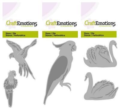 KAKADU SCHWAN Stanzschablone CRAFTEMOTIONS Tiere Vögel PAPAGEIEN