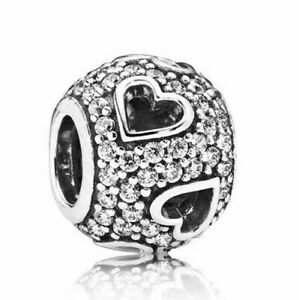 925-Sterling-Silver-Tumbling-Hearts-Charms-Pave-Crystals-Clear-CZ