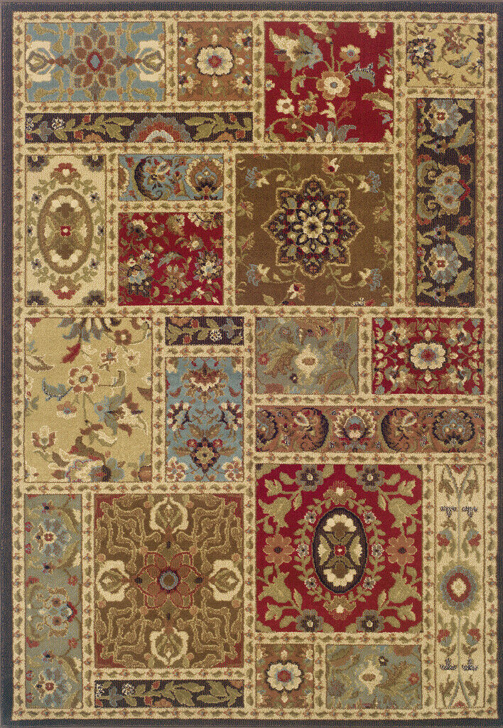 Sphinx Multi 2 x 8 Panel Squares Floral Runner Area Rug - Approx 1' 10  x 7' 3