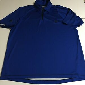 Adidas-ClimaCool-Mens-Large-Blue-Golf-Polo-Shirt-1-4-Zip