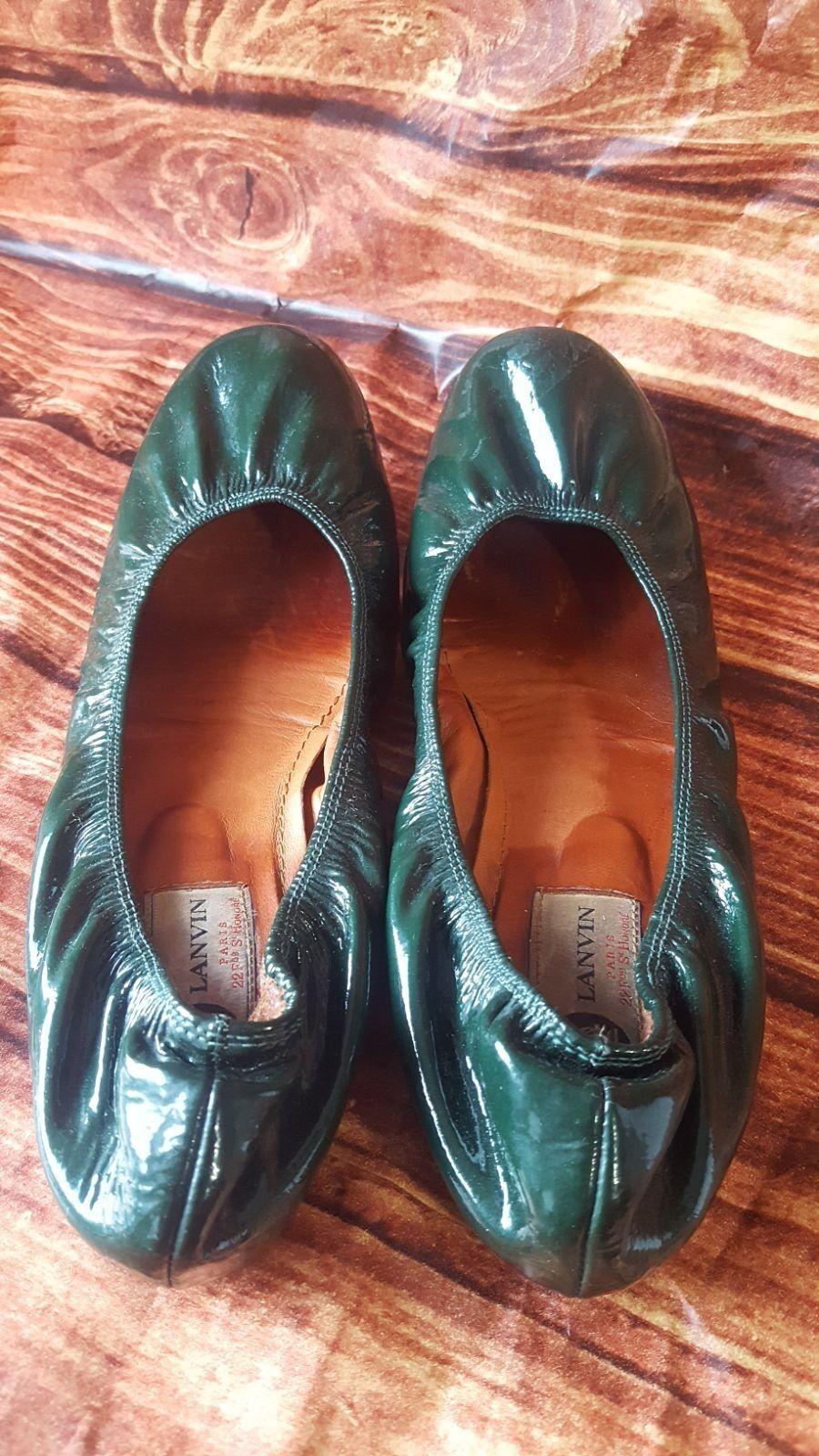 LANVIN Paris Soft Forest Green Patent Leder Upper Slip Elasticized Ballet S 7