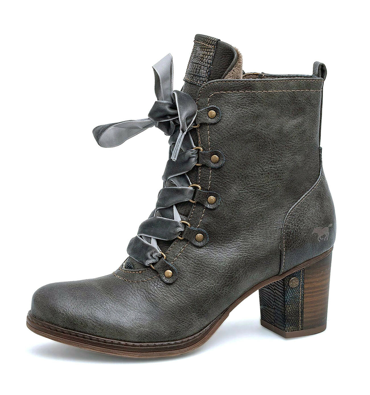 Mustang NEW 1286-503 dark grau lace up high heel fashion ankle Stiefel Größes 4-8
