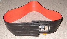 BNWT Karen Millen Black red leather Wide belt with Large metal Buckle