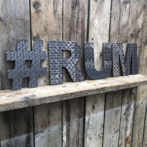 H INDUSTRIAL RUSTIC Lettering Letters Signage Metal Home Pub Bar Mancave Sign